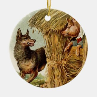 Vintage Fairy Tale, Three Little Pigs and Wolf Ceramic Ornament