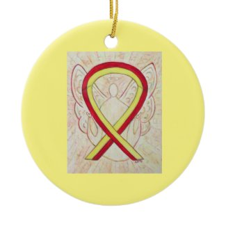 Red and Yellow Awareness Ribbon Angel Ornaments