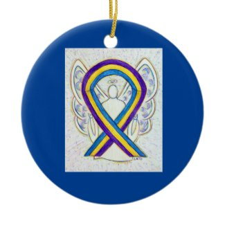 Bladder Cancer Awareness Ribbon Angel Ornaments
