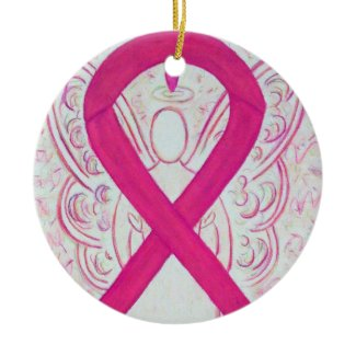 Hot Pink Awareness Ribbon Angel Ornaments
