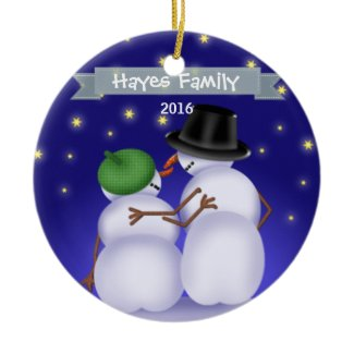 Personalized Snowman Couple Christmas Ornament