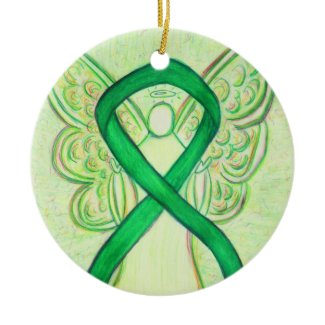 Green Awareness Ribbon Angel Custom Art Ornaments