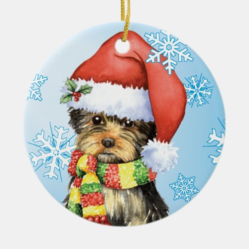 Happy Howliday Yorkie Yorkshire Terrier Dog Design with Santa Hat Ceramic Ornament