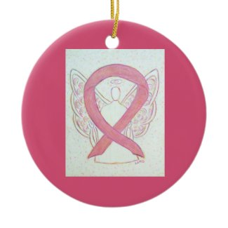 Pink Awareness Ribbon Angel Custom Art Ornaments