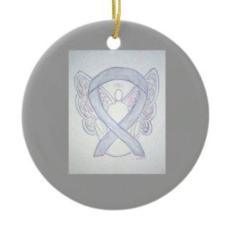 Light Gray Awareness Ribbon Angel Ornaments