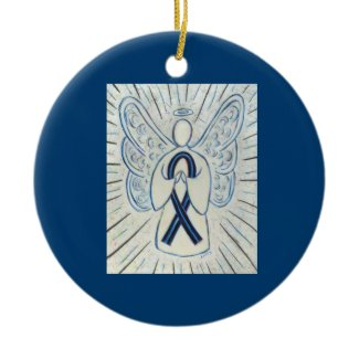 Blue and Black Awareness Ribbon Custom Ornaments
