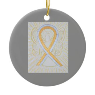 Silver and Gold Awareness Ribbon Angel Ornaments