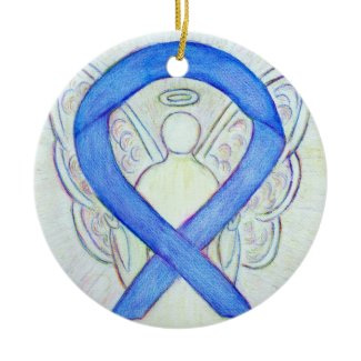 Violet Awareness Ribbon Angel Custom Art Ornaments