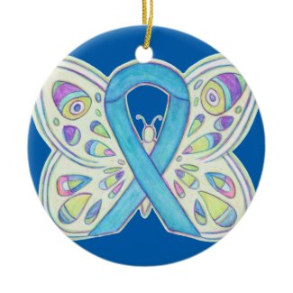 Blue Butterfly Awareness Ribbon Custom Ornaments