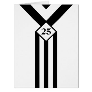 Black Stripes and Chevrons with Monogram on White Card