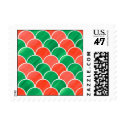 Christmas Red and Green Scale Pattern Postage