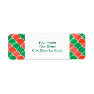 Christmas Red Green Scale Pattern address labels