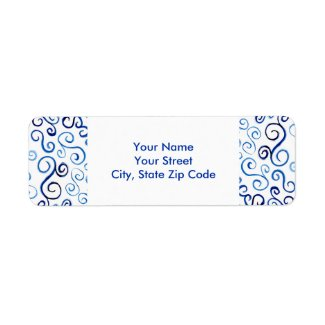 Blue Abstract Curves return address labels