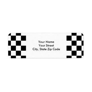 Checkered Black and White return address label