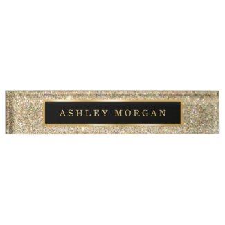 Elegant Modern Gold Glitter Sparkles Name Plate