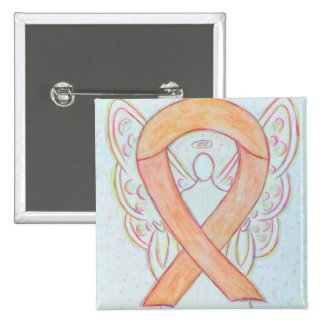 Peach Awareness Ribbon Angel Custom Art Pin Button