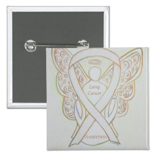 Lung Cancer Awareness Angel Ribbon Art Pin