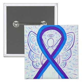 Blue and Purple Ribbon Awareness Angel Pin