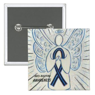 Anti-Bullying Awareness Angel Blue Ribbon Pin
