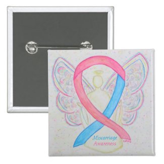 Miscarriage Awareness Ribbon Angel Custom Art Pins