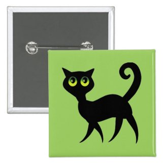Green-Eyed Black Cat Jewelry Pin