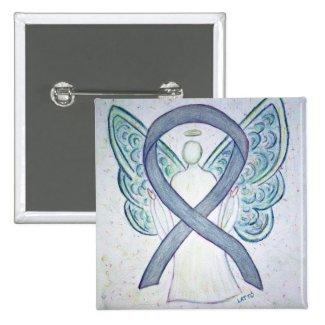 Gray Angel Awareness Ribbon Custom Art Pins