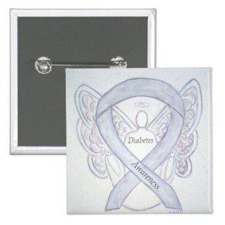 Diabetes Awareness Ribbon Angel Customized Art Pin