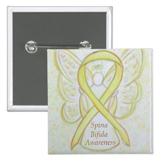 Spina Bifida Angel Awareness Ribbon Pins