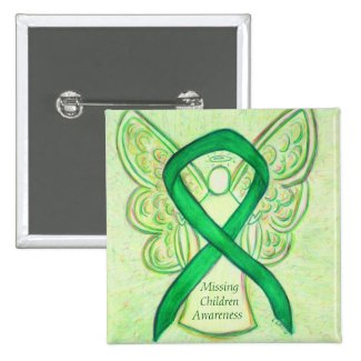 Missing Children Green Awareness Ribbon Angel Pins