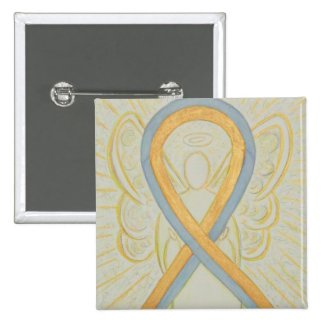 Gold and Gray Angel Awareness Ribbon Button Pins