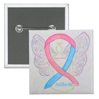 Stillbirth Awareness Ribbon Angel Custom Art Pins
