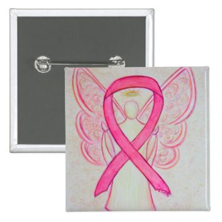 Pink Angel Awareness Ribbon Custom Art Pins