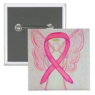 Pink Angel Awareness Ribbon Custom Art Pins