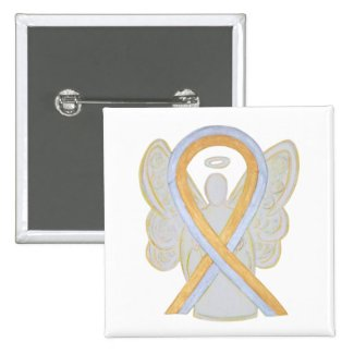 Gold and Silver Angel Awareness Ribbon Button Pins