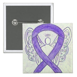 Violet Angel Awareness Ribbon Art Pins