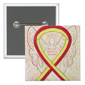 HIV - Hepatitis C Awareness Angel HCV Ribbon Pins
