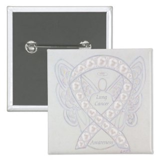 Lung Cancer Awareness Ribbon Angel Art Pins