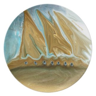 Golden Ship Melamine Plate