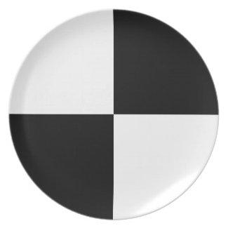 Black and White Rectangles Melamine Plate
