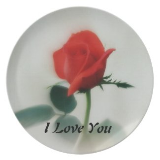 Rose with the words I Love You  Melamine Plate