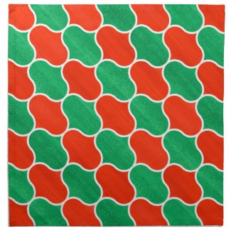 Festive Christmas Red and Green Ogee Pattern Napkin