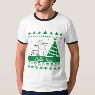 Dallas Texas Dog Peeing on Snowman Tacky Sweater Tee Shirt