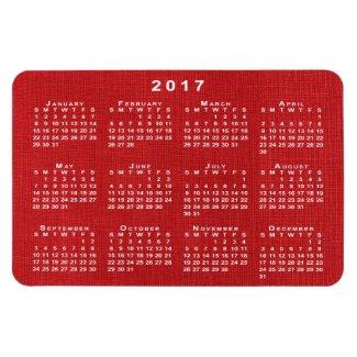 Red Linen Texture Photo 2017 Calendar Magnet
