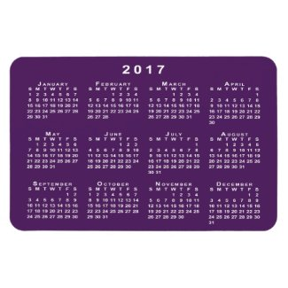 White 2017 Calendar, Purple Background Template Rectangular Photo Magnet
