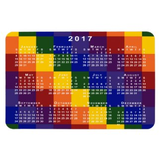 Checkered Rainbow 2017 Calendar Magnet