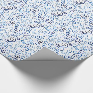 Whimsical Blue Watercolor Abstract Curves Wrapping Paper