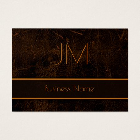 Black and Brown Faux Leather Classy Monogram Accountant Business Cards Template