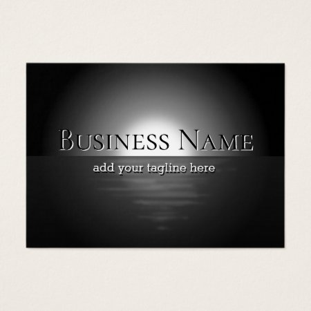 Modern Classy Masculine Full Moon Rising and Reflecting in the Ocean Professional Accountant Business Cards Template