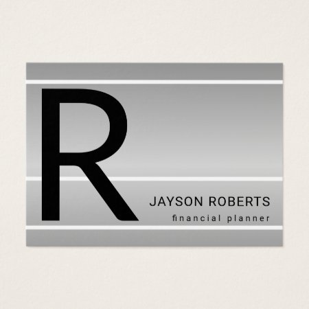 Silver Black and White Large Monogram Financial Planner Accountant Business Cards Template