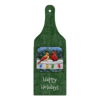 Cardinals and Christmas Lights Green Cutting Board